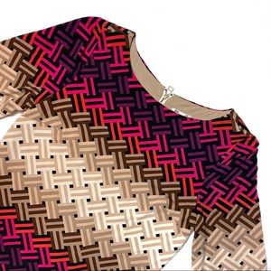 Eliza J Tan and Pink Long Sleeve Shift Dress